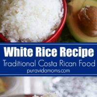 a spoon, lifting up a spoonful of the Costa Rican rice.