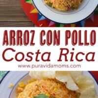Costa Rican Arroz Con Pollo in serving dishes.
