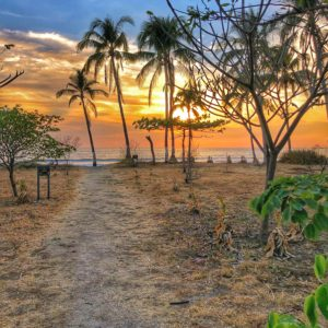 Playa Junquillal at sunset Costa Rica travel tips.