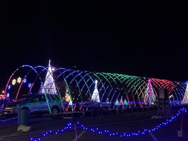 Dancing lights tunnel Denver Christmas.