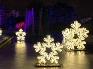 Three light up stars with waterfall blossoms of light.