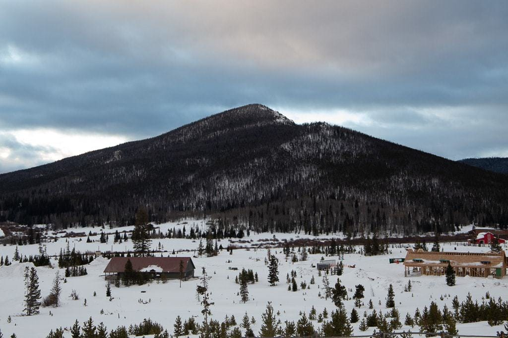 view of snow mountain in winter