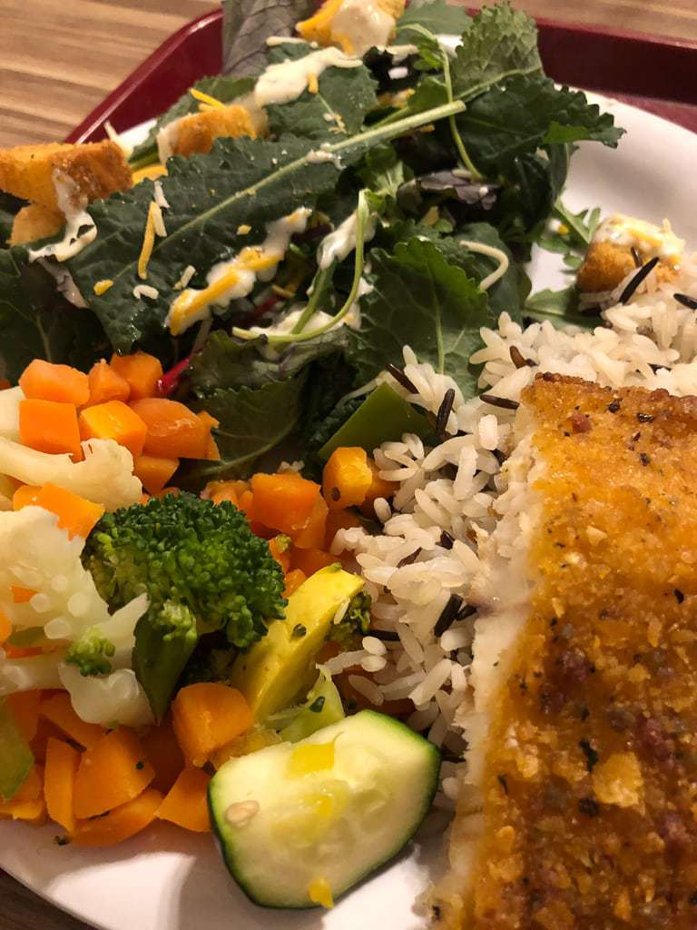 fish, salad and vegetables from ymca dining hall
