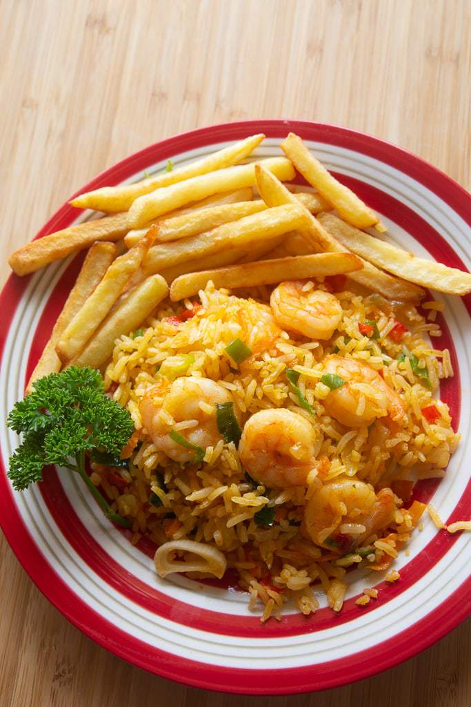 rice, shrimp and fried potatoes