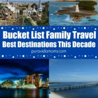 collage of images showing the best destinations for bucket list family travel.