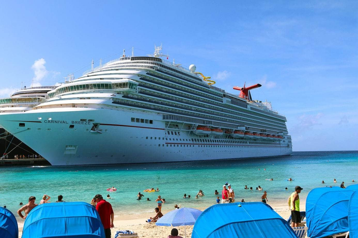 Carnival Cruiseline ship docked in the tropics