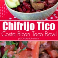 Chifrijo Tico with chips in a bowl.