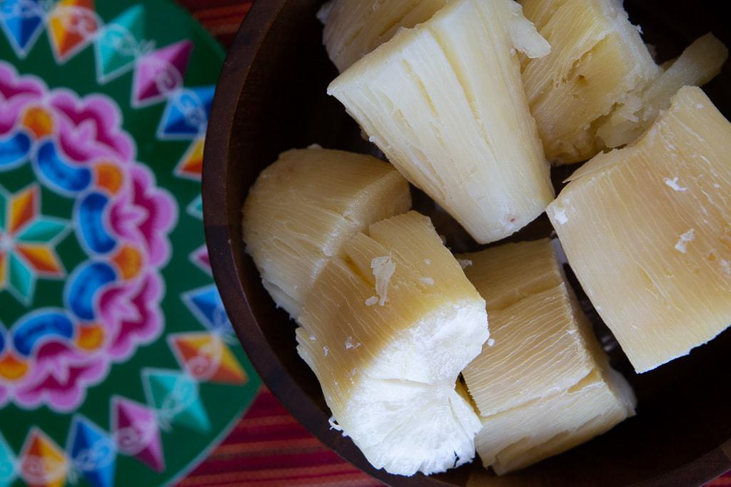bowl of freshly boiled yuca from costa rica