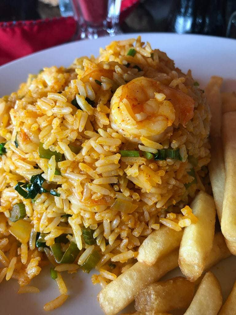 sail on shrimp with rice and spices