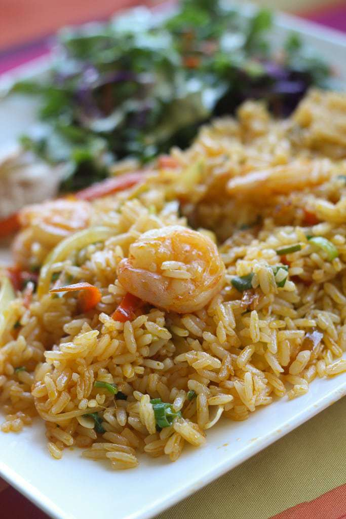 shrimp and rice with green salad