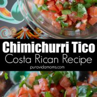 Costa Rican Chimichurri Tico in a clear serving bowl.