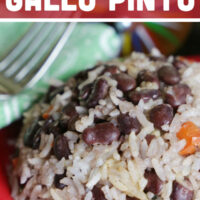 A close up of the gallo pinto in a serving bowl.