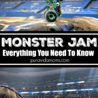 Two separate images of the arena for Monster Jam.