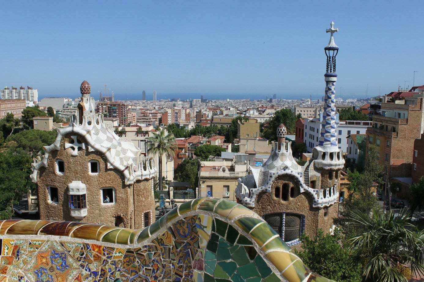 View of Barcelona Spain from Gaudi's Parc Guell