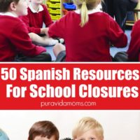 The Spanish resources for school closures, with images of children in red shirts.