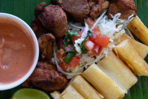 Chicharron fried pork with chimichurri sauce, salsa rosada- Costa Rica.