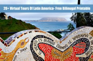 Latin America virtual tours with a mural statue.