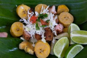 Costa Rican salad with lime, chicharron, chimichurri sauce and yuca.