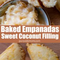 A couple of empanadas with a small bowl of the filling on the side.