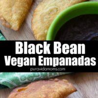 A few black bean and vegan empanadas on a wooden board.