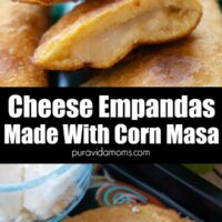 A close up of one of the empanadas which is cut in half revealing the inside.