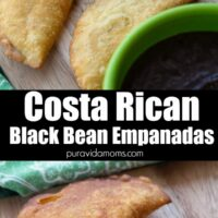 Two images of the black beans empanadas separated by a title.