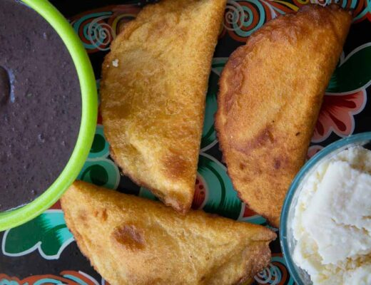 Fresh homemade bean and cheese empanadas.