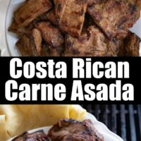 Two images of the Carne Asada on serving dishes.