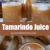 A downward and side view of the Tamarindo juice in a glass pitcher.