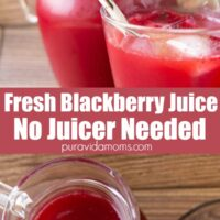 Fresh Blackberry juice in a glass pitcher.