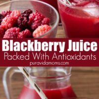 The fresh blackberry juice with a side bowl of fresh blackberries.