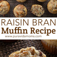 A sliced raisin muffin with more muffins on top on a mat.