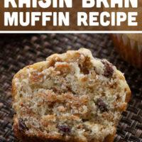 A raisin bran muffin cut in half.