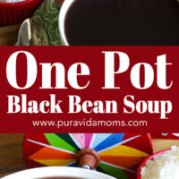 Two separate images of the blackbean soup in a white serving bowl.