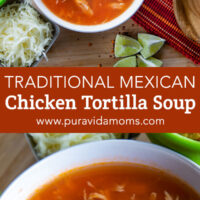 A white bowl of the Mexican chicken tortilla soup.