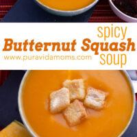 butternut squash soup in a serving bowl.