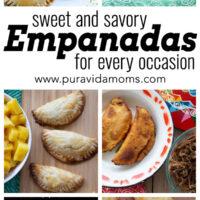 Multiple images of different empanada recipes.