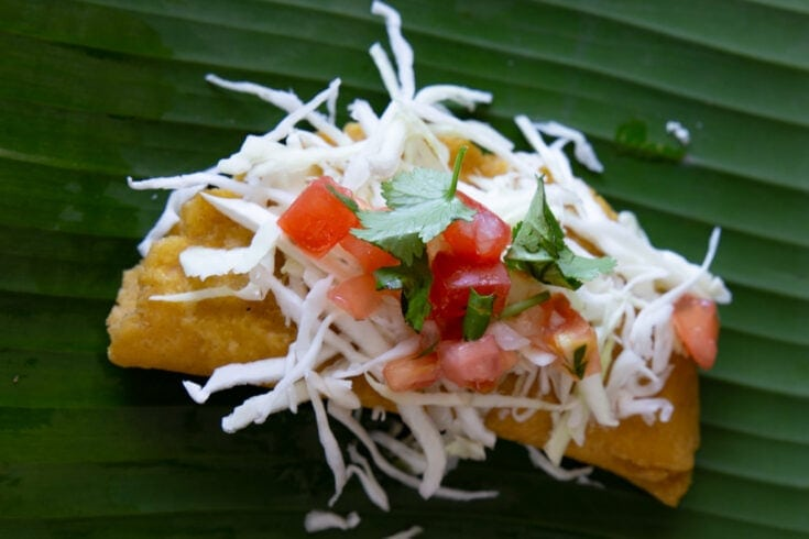 Fried empanada topped with cheese, salsa, and cilantro on a large leaf.