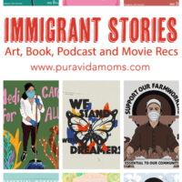 List of immigrant stories in red with a collage of images.