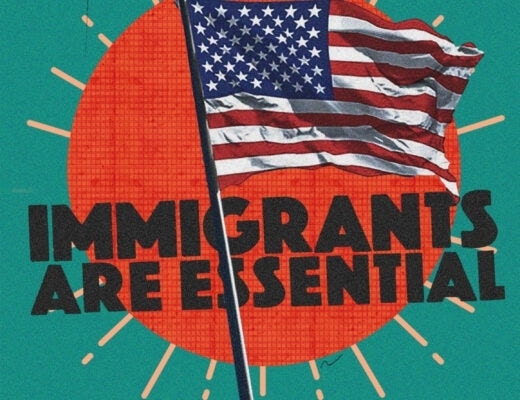 Digital artwork featuring an American flag and the slogan immigrants are essential.