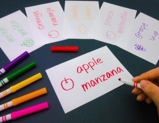 Series of flashcards with Spanish words and their translations written in colored marker.