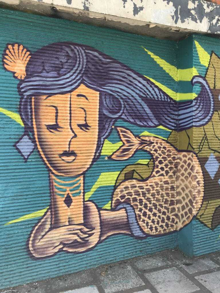 Mermaid graffiti on a corrugated garage door.
