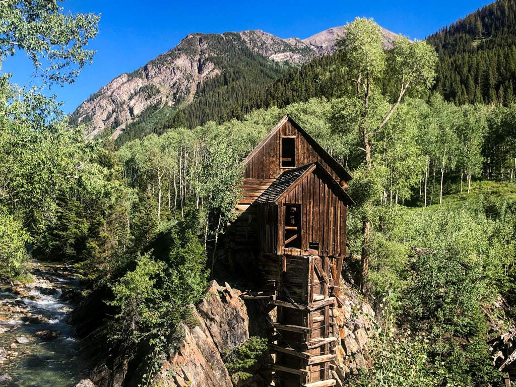 crystal mill colorado with full sun - upper view