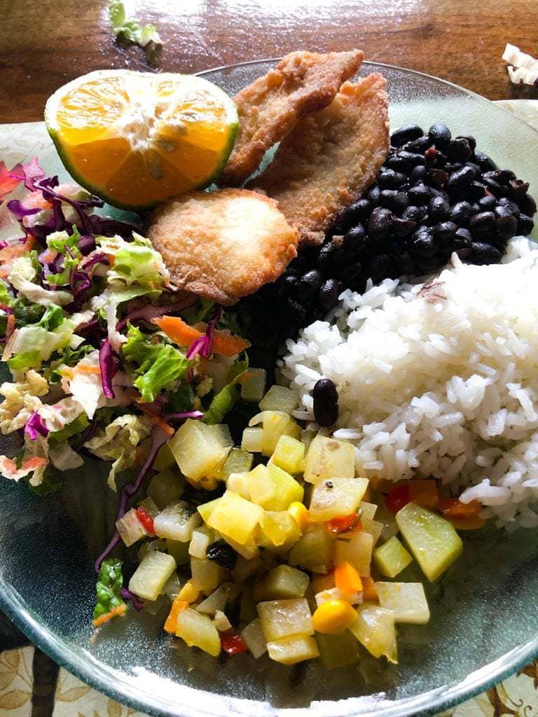 Costa Rican casado dish consisting of rice, picadillo, salad, beans, and a fried protien.