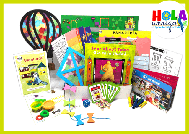 spanish books and spanish toys in a large subscription box