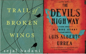 A side by sides of two title covers.