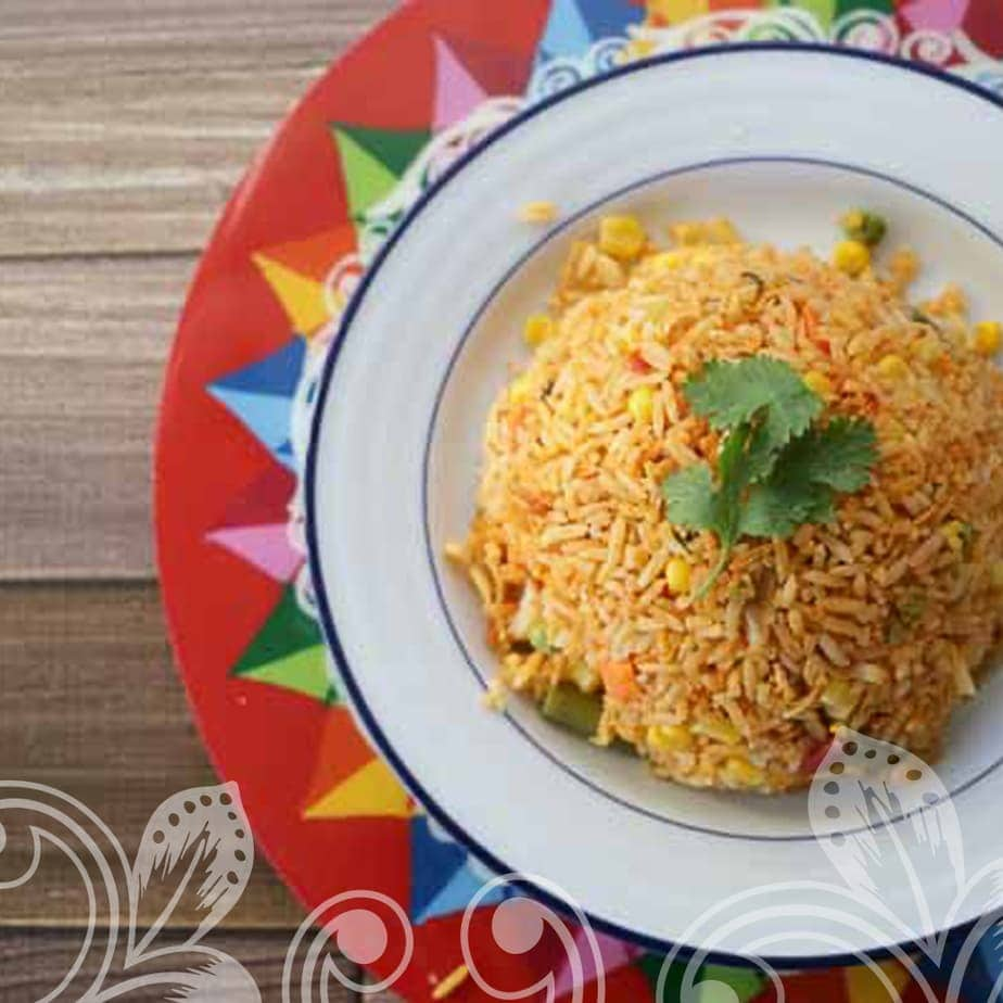 Rice in a white bowl on top of a colorful plate.