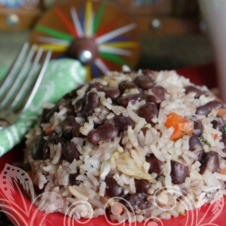 The rice and beans on a serving dish.