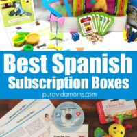 Crafts with a large blue rectangle with the words 'Best Spanish Subscription Boxes.