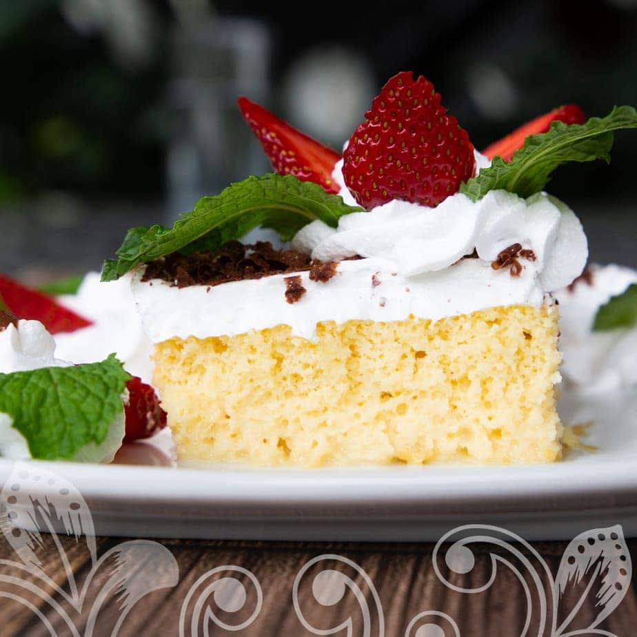 A slice of the cake on a serving dish.